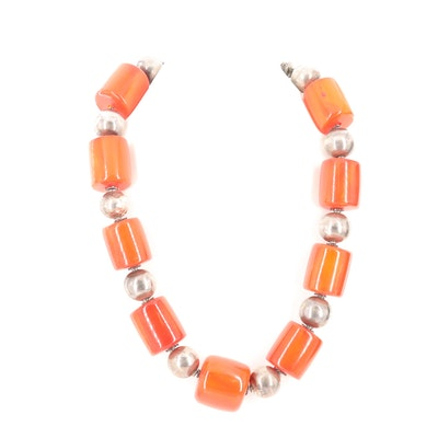 Mutton Fat Amber Silver Tone Beaded Necklace with Sterling Silver Clasps