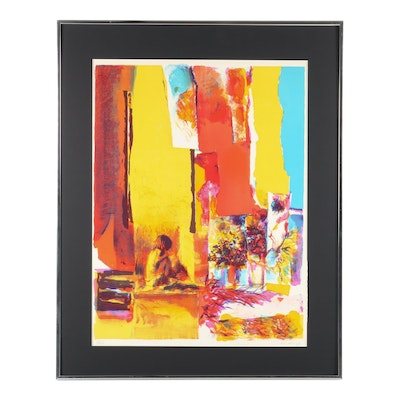 "Nicola Simbari Lithograph ""Yellow Wall"""