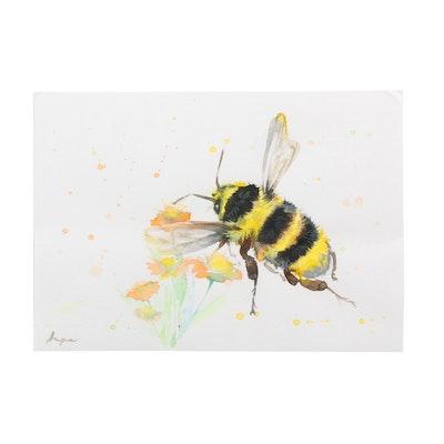 Angor Watercolor Painting of Bumblebee