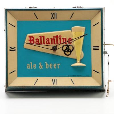 Ballantine Ale & Beer Illuminated Advertising Display Clock, Vintage