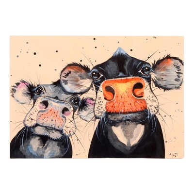 Angor Watercolor Painting of Two Cows