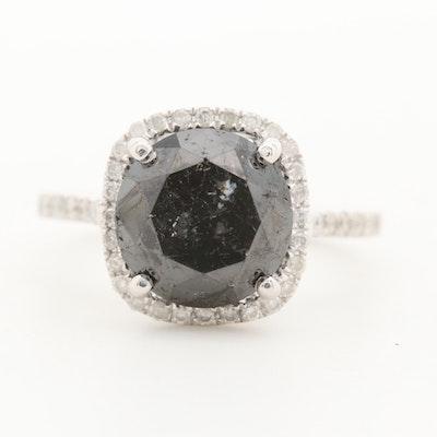 14K White Gold 4.58 CT Black Diamond and Diamond Ring