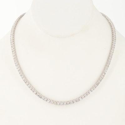 18K White Gold 14.69 CTW Diamond Riviera Necklace