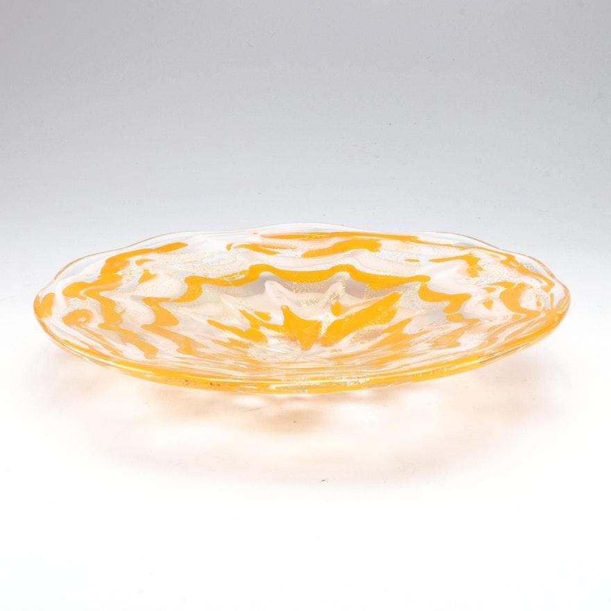 Blown Art Glass Centerpiece Bowl