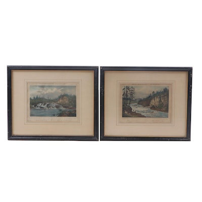 Jacques Gerard Milbert Hand-Colored Lithographs of the Hudson River