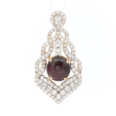 Sterling Silver Star Ruby and White Sapphire Pendant