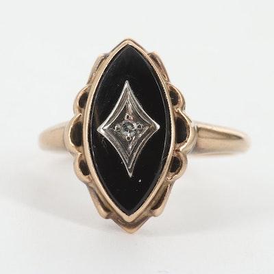 Vintage 10K Yellow Gold, Black Onyx and Diamond Signet Ring