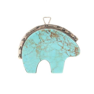Southwestern Sterling Silver Turquoise Fetish Bear Pendant