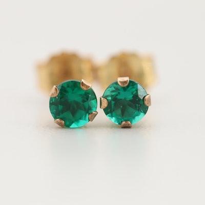 10K Yellow Gold Synthetic Emerald Stud Earrings