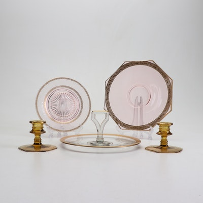 Gilded Depression Glass Serveware and Candlesticks Including Tiffin-Franciscan