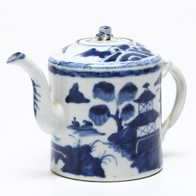 Chinese Canton Porcelain Teapot, Early-Mid 20th Century