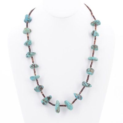 Sterling Silver Turquoise and Shell Necklace
