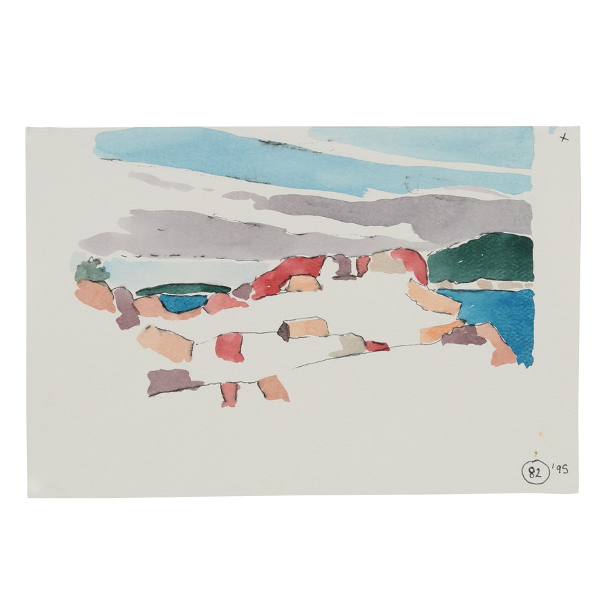 Robert Herrmann 1995 Watercolor Painting of Abstract Coastal Landscape