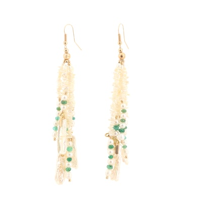 14K Yellow Gold Cultured Pearl and Emerald Tassel Earrings