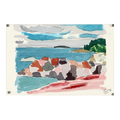 Robert Herrmann 1996 Watercolor Painting of Abstract Coastal Landscape