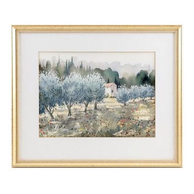 M. Castellani Landscape Watercolor Painting