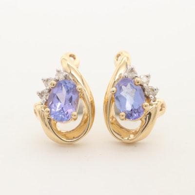 14K Yellow Gold Tanzanite and Diamond Stud Earrings