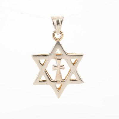 14K Star of David and Cross Pendant