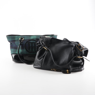 Elliott Lucca Black Leather Hobo and Tommy Hilfiger Black Watch Tote Bags