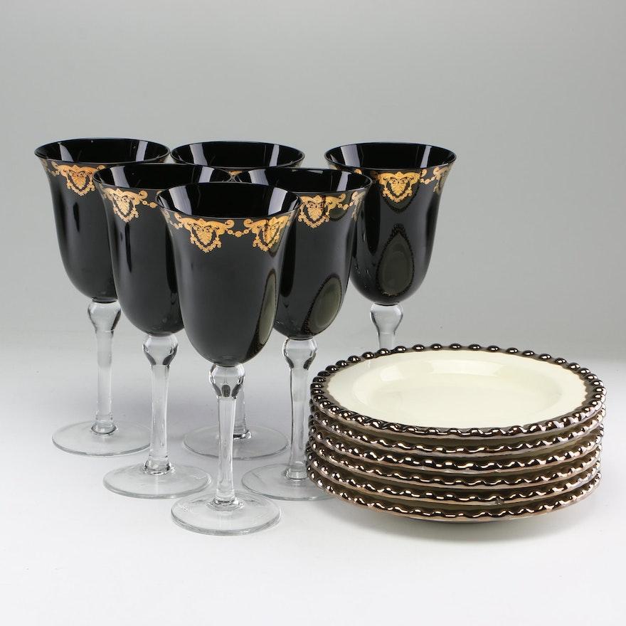 Venetian Style Art Glass Stemware with I. Godinger Dessert Plates