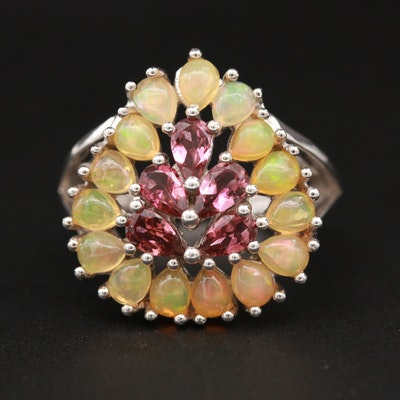 Sterling Silver Rhodolite Garnet and Opal Ring