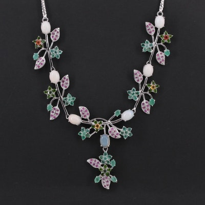 Sterling Silver Emerald, Ruby, Opal and Diopside Floral Necklace