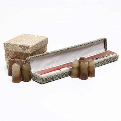 Chinese Diminutive Soapstone Figurines and Bone Chopsticks