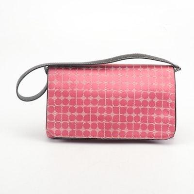 Kate Spade New York Pink Baguette Shoulder Bag with Black Leather Strap