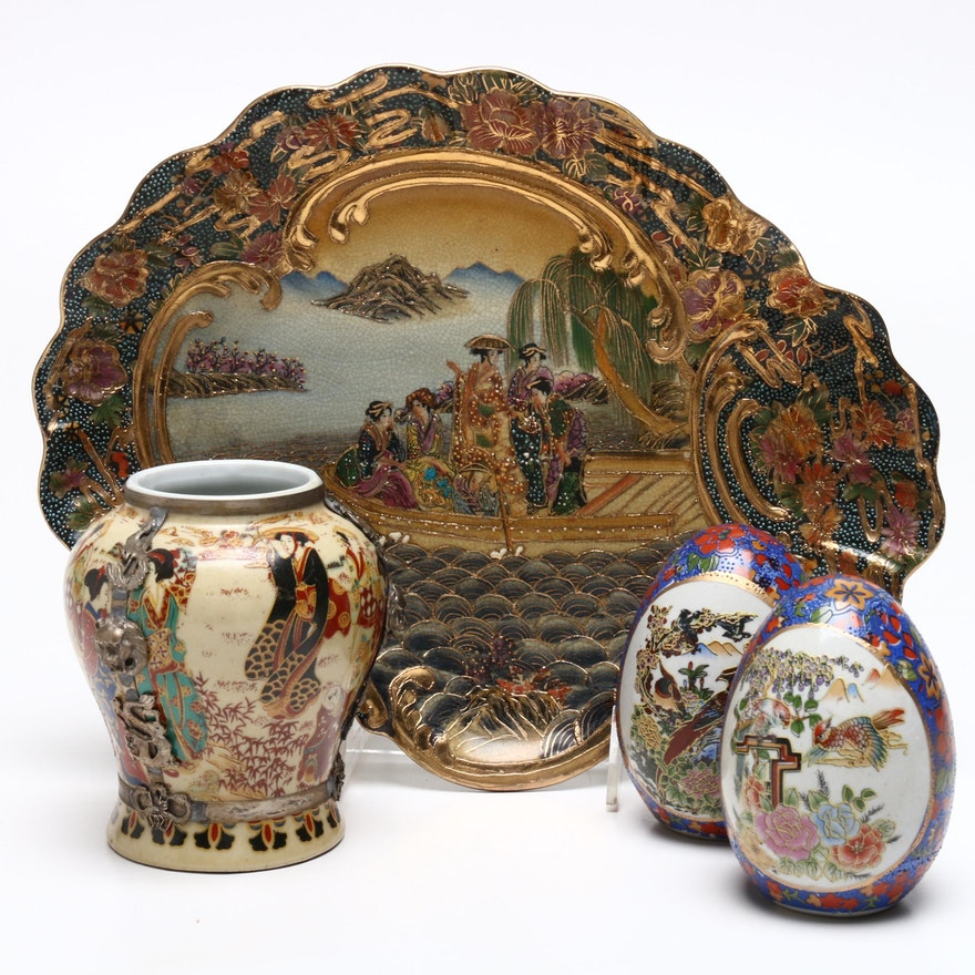 Chinese Satsuma Style Serving Tray, Ginger Jar, and Decorative Eggs