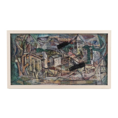 Modernist Abstract Oil Painting of Architectural Scene