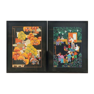 Chinese Acrylic Folk Paintings
