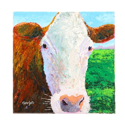 Gavino Oil Painting of Cow Portrait