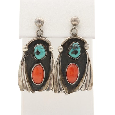 Southwestern Sterling Silver Turquoise and Coral Dangle Earrings