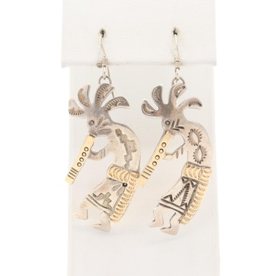 Southwestern Sterling Kokopelli Earrings with 14K Yellow Gold Accents