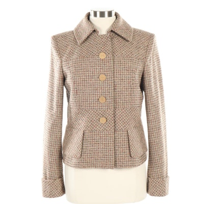 Escada Houndstooth Plaid Button-Front Cropped Jacket