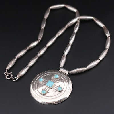 Southwestern Style Sterling Silver Turquoise Pendant Beaded Necklace