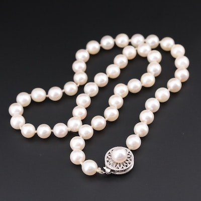 14K White Gold Cultured Pearl Knotted Necklace
