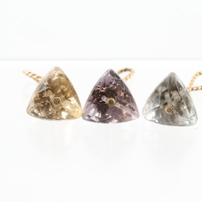 14K Yellow Gold Citrine, Amethyst, and Prasiolite Pendants