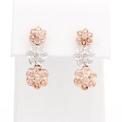 10K White and Rose Gold Diamond Floral Earrings