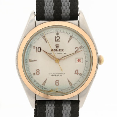 Vintage Rolex Datejust Big Bubbleback 14K Gold and Stainless Steel Watch,1947