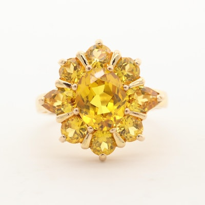 Sterling Silver Yellow Sapphire Ring