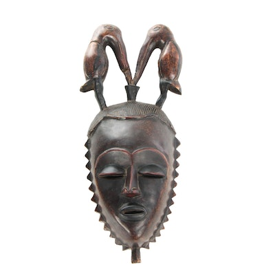 African Hand Carved Senufo Mask with Birds