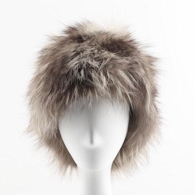 Saks Fifth Avenue Raccoon Fur Pom Pom Hat, Vintage