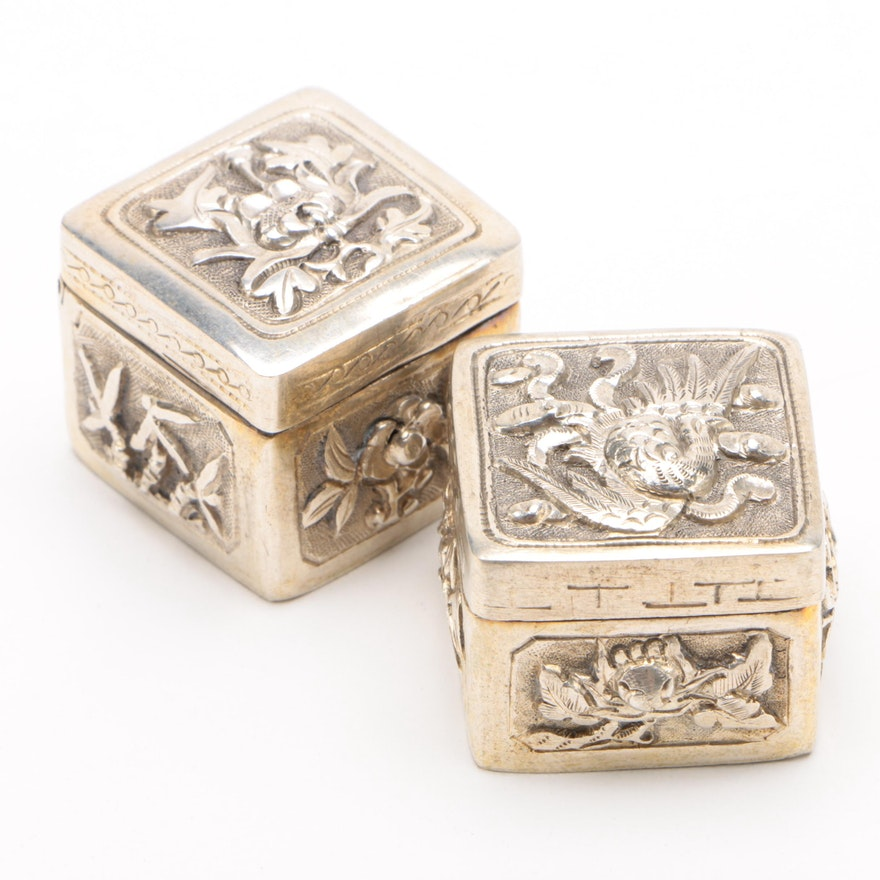 Chinese Phoenix and Chestnut Motif Pill Boxes
