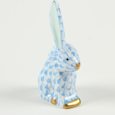 """Herend Blue Fishnet with Gold """"Miniature Rabbit with One Ear Up"""" Figurine"""