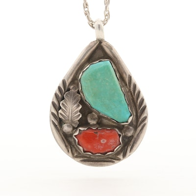 Vance Cheama Zuni Sterling Silver Turquoise and Coral Pendant Necklace