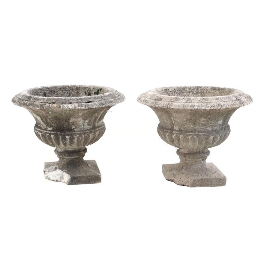 Pair of Vintage Cast Cement Planter Urns