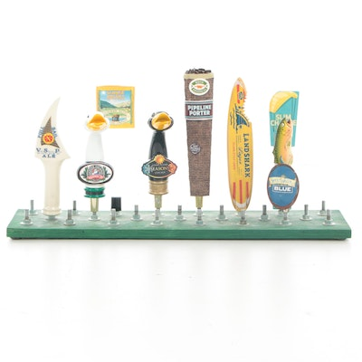Beer Tap Handles with Wooden Back Bar Display Including Goose Island