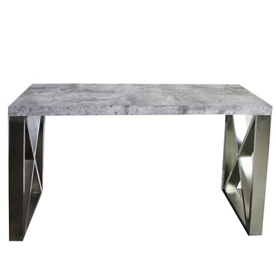 Contemporary Engineered Wood and Metal Console Table