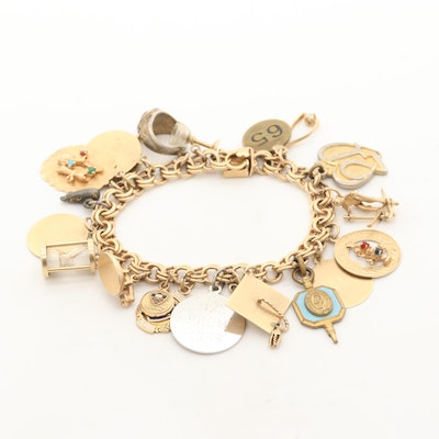 Circa 1960s 14K Yellow Gold Charm Bracelet Including 10K and 14K Charms